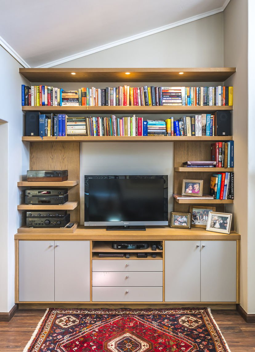 Oak and Duco wall unit
