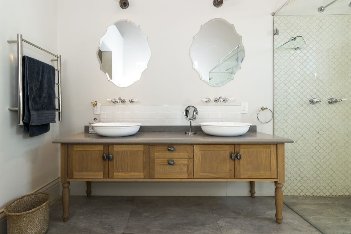 Oak double vanity  with Oyster Ceasarstone Top
