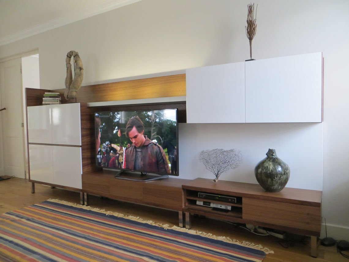 Walnut and Duco TV Unit